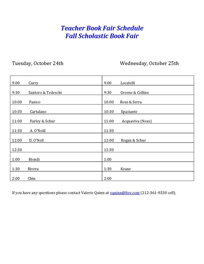 Book Fair Schedule AH Teachers October